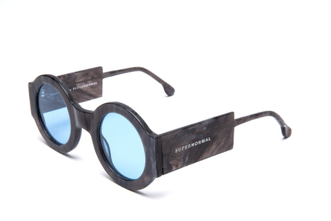 Round Thick Frame Patterned Blue Supernormal Sunglasses