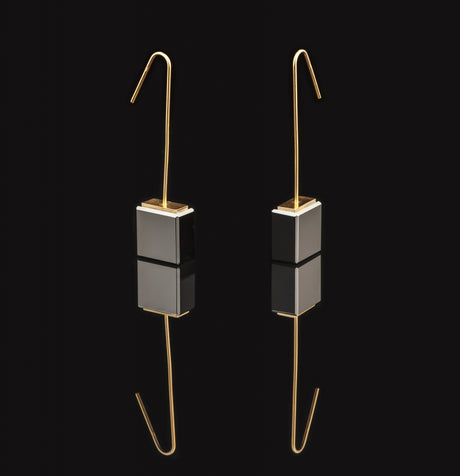 Black glass earrings with long gold hook