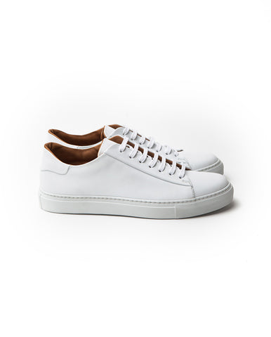 Low top white leather sneakers