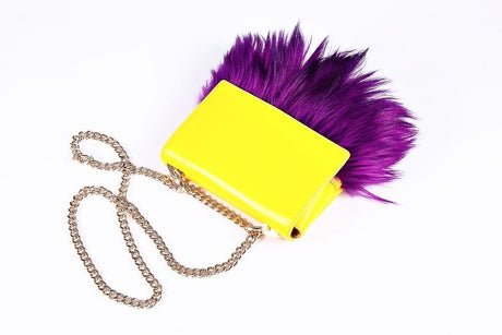 Mia Midi Yellow Leather Bag With Purple Fur