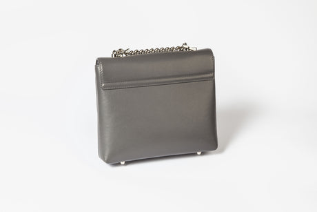 Mia Midi Grey Leather Shoulder Bag
