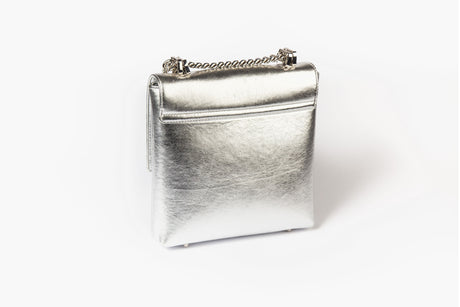Mia Midi Silver Leather Bag With Swarovski crystals