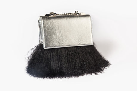 Mia Midi Silver Leather Bag With Black Lama Fur