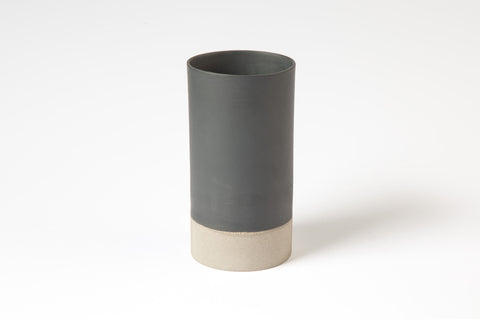 Dark grey porcelain vase
