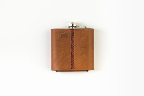 Flask with leather cover