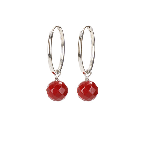 Circle Of Coco Silver Coral Earrings