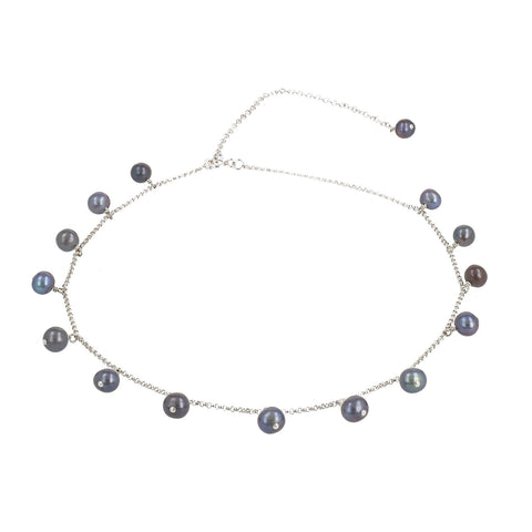 Coco Choker Grey Pearl And Silver