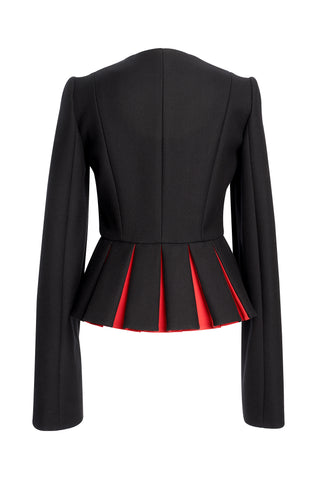 Black Wool Jacket With Red Small Pleats