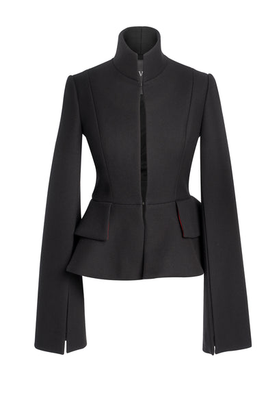 Black Wool Jacket With Double Ruffle On The Back