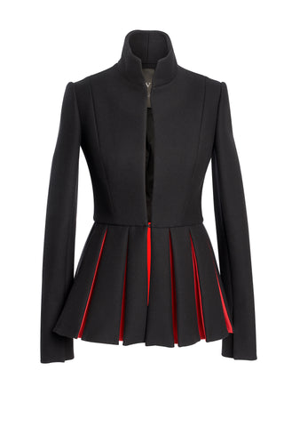 Black Wool Jacket With Long Red Pleats