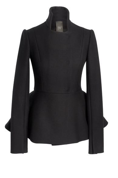 Black Wool Jacket With Ruffle On The Back