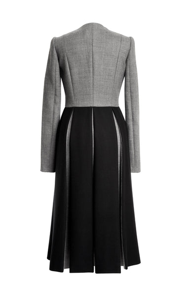Gray Wool Coat With Black Pleats