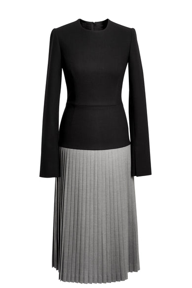 Black Dress With Gray Pleats