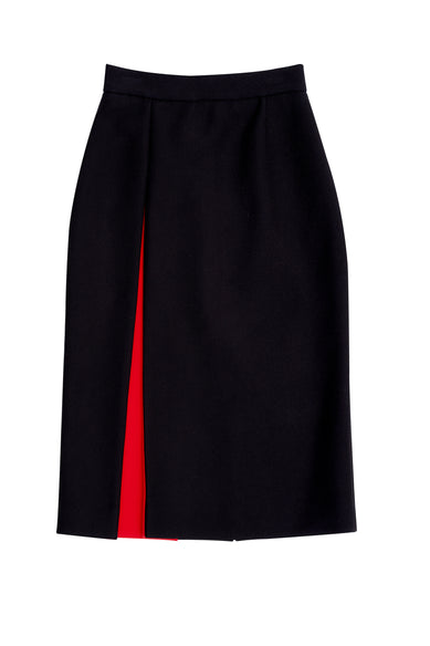 Black Wool Pencil Skirt With Red Pleate