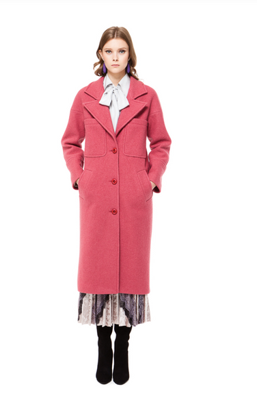ROSA LONG WOOL COAT IN RASPBERRY PINK