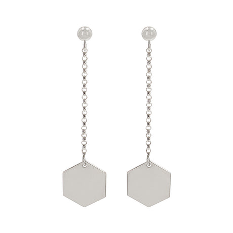 Long Hexagon Earrings Silver