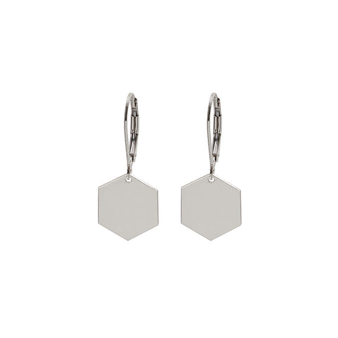 Hexagon Earrings With Hooks Silver