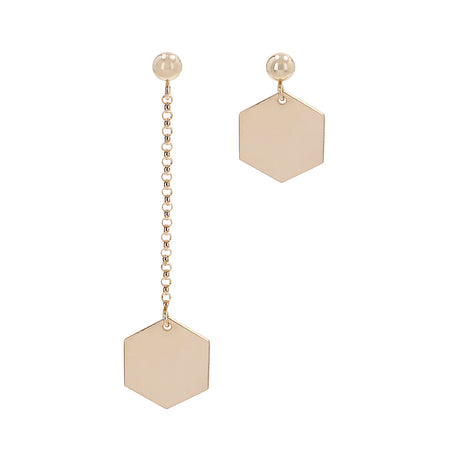 Hexagon Earrings Mixed Set Gold
