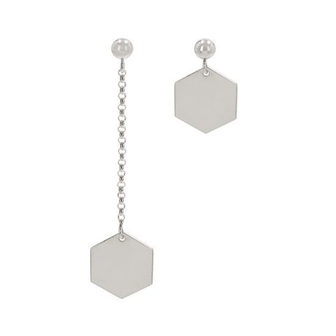 Hexagon Earrings Mixed Set Silver