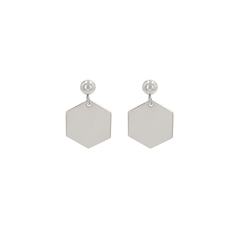 Hexagon Earrings With Dots Silver