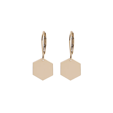 Hexagon Earrings With Hooks Gold