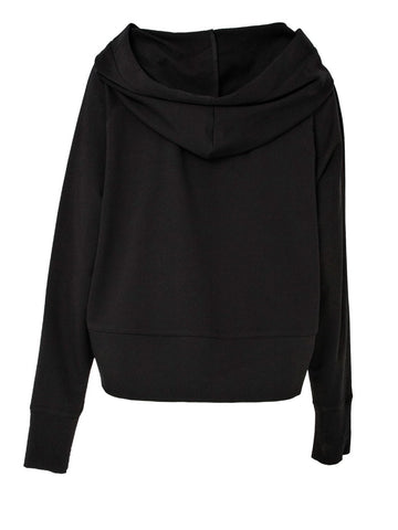 Black Cotton Sweat Pullover With Print