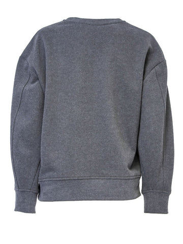 Grey Cotton Sweat Pullover With Print