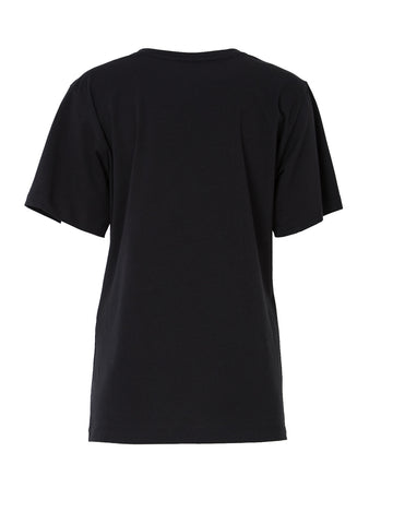 Black Cotton Jersey T-Shirt With Print