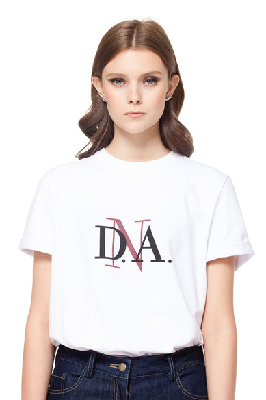 White Crew Neck DnA Logo T-shirt