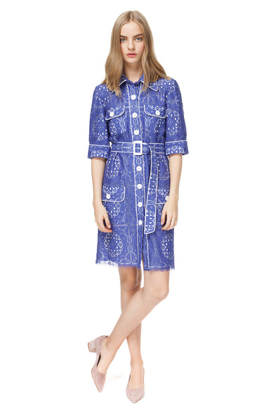 Maribel Mini Shirt Dress In Blue Lace