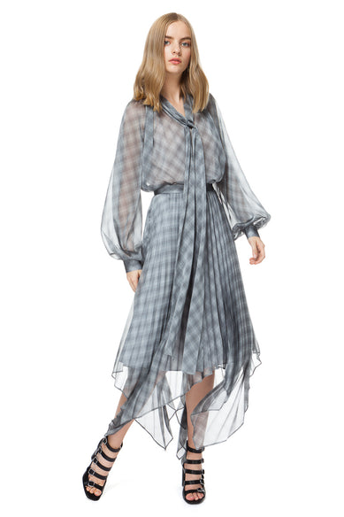 Luisa Bow Blouse In Grey Check