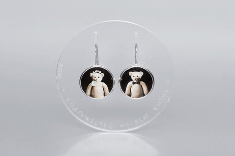 "Teddy-bears silver earrings with photos, rock crystal and Latin inscription ""Union for lifetime"""