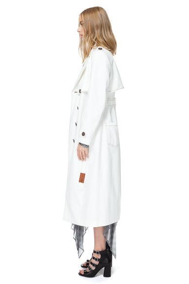 Aria Trench Coat In White Denim