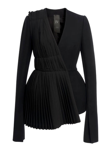 Black Wool Jacket With Diagonal Pleats