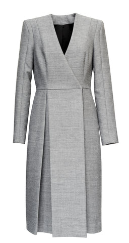 Gray Coat With Opposite Pleats
