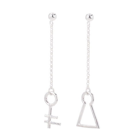 Unlocked Longing For Coco Key And Lock Silver Earrings