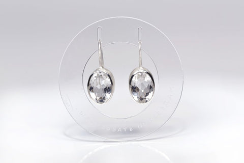 Silver earrings with white topaz