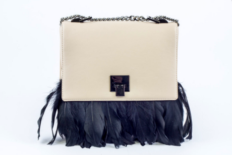 Mia Large Black Feather Beige Leather Shoulder Bag