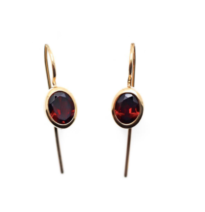 Sputnik Earrings Gold Plated Garnet
