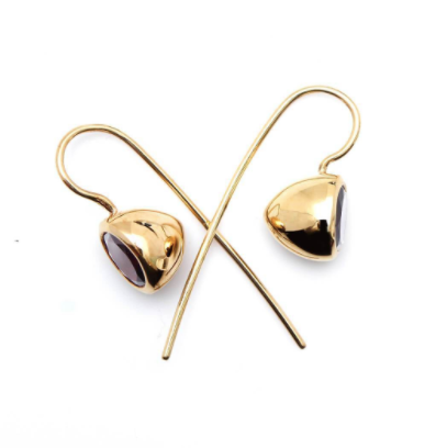 Sputnik Minimal Earrings Gold Plated Red Garnet