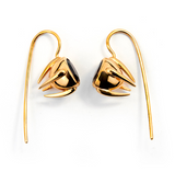 Sputnik Earrings Gold Plated Red Garnet