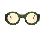 Round Thick Frame Green Supernormal Sunglasses