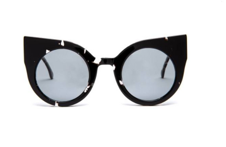 Oversized Cat Eye Patterned Black Supernormal Sunglasses