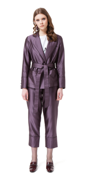 BRENNA PYJAMA SUIT IN VIOLET CHECK