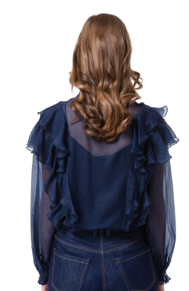 ASMIN RUFFLE BLOUSE IN MIDNIGHT BLUE