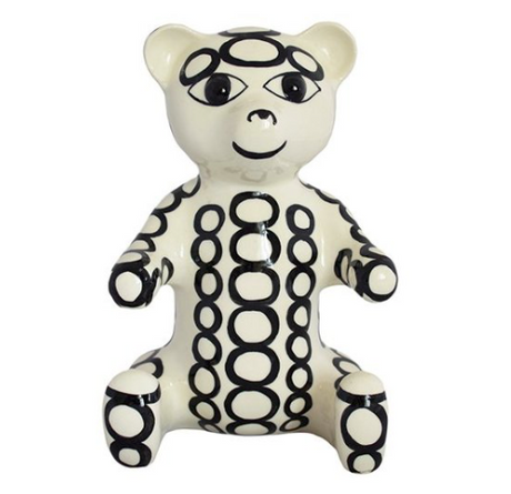 Bartenev Porcelain Bear,Small With Circle Drawings
