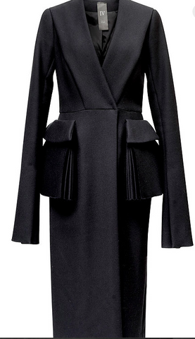 Black Silk And Wool Blend Coat With Front Pockets