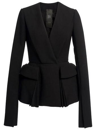 Black Wool Jacket With Two Front Pockets