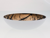 Deco Flat Bowl White/Mirror Outside And Black Splashed Amber Inside
