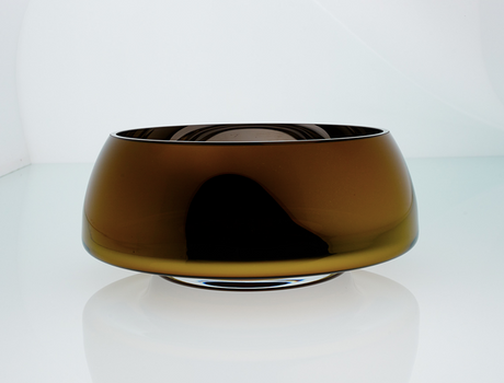Deco Big Bowl Amber Outside And Mirror Inside